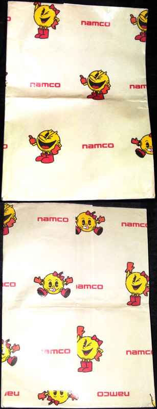 ナムコ「パックマン」直営店グッズ購入時の紙袋、namco,pac-man,キャロット,包装紙、paper bag