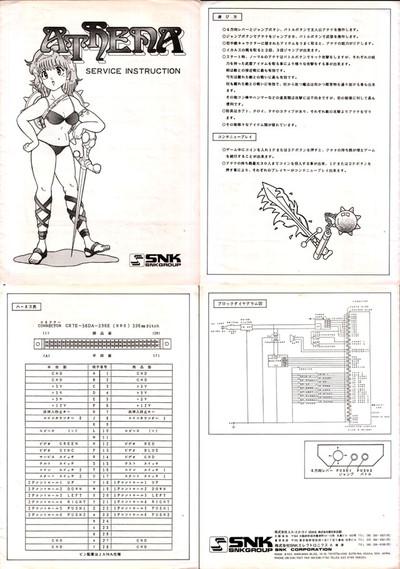 エスエヌケイ「アテナ」基板取り扱い説明書,SNK,Athena,Substrate manual、レトロゲーム、retro game