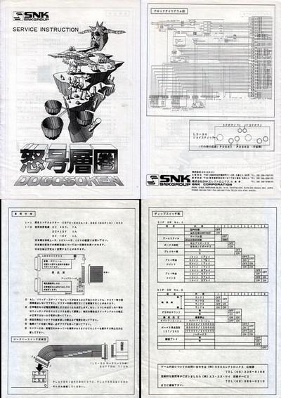 エスエヌケイ「怒号層圏」基板取り扱い説明書,SNK,Dogoh Souken,Substrate manual、レトロゲーム、retro game